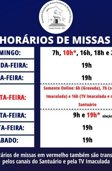 Confira os horários de missa do Santuário e de transmissões ao vivo