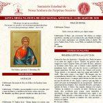 Folheto Litúrgico da Missa desta quinta-feira