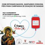 Com estoques baixos, Santuário convida fiéis para Campanha de Doação de Sangue