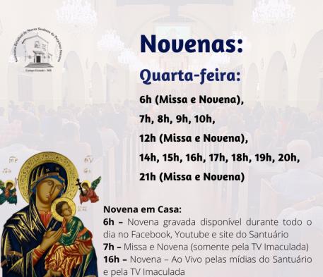 Novena do Santuário terá três novos horários