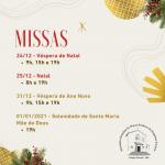 Missas de Natal e Ano Novo / Horários do Santuário