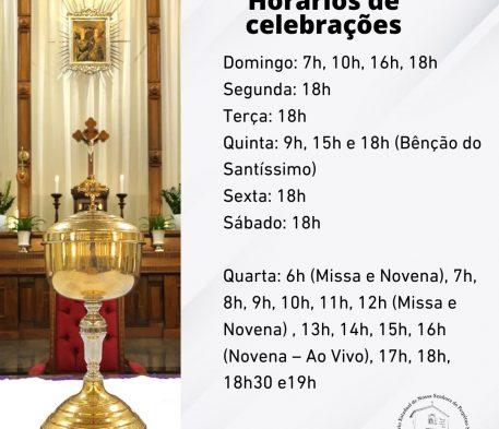 Novos horários de celebrações
