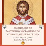 Solenidade de Corpus Christi será celebrada às 9h no Santuário