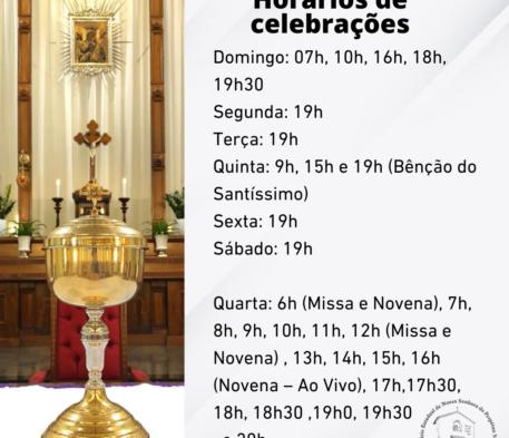 Horário das celebrações