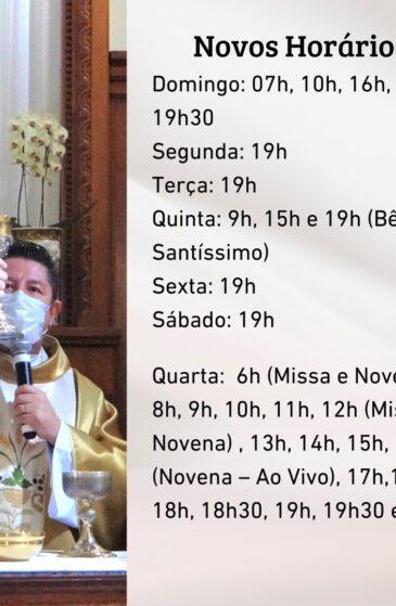 Horários das celebrações do Santuário
