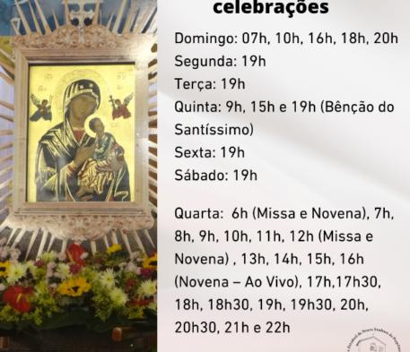 Confira os horários de celebrações do Santuário: