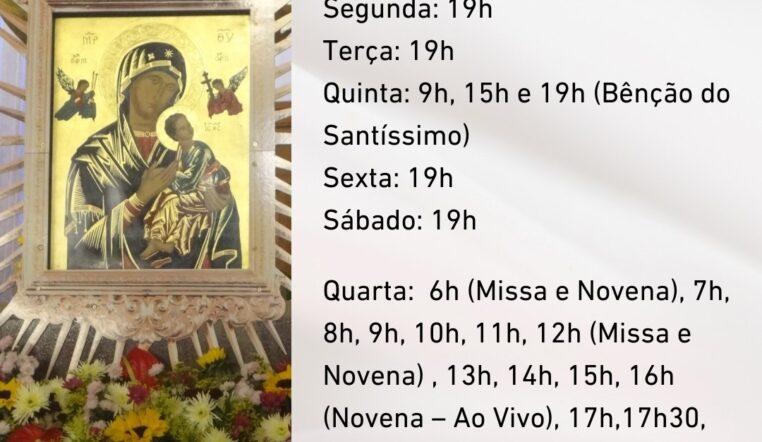 Confira os horários de celebrações do Santuário